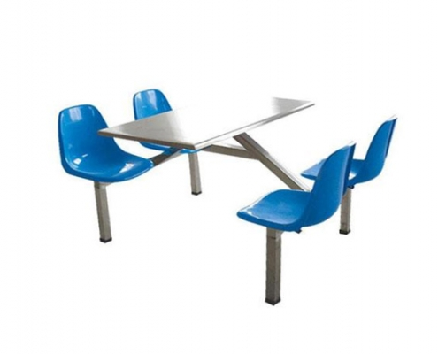 Four-stainless-steel-dining-table-and-chair